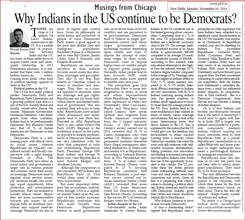 PBD Nov. 10 2014. Why Indians Democrats